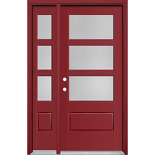 34in x 80in Vista Grande Pear 3 Lite Wide Exterior Door w/SL & Clad Smooth Fiberglass Red Right-Hand