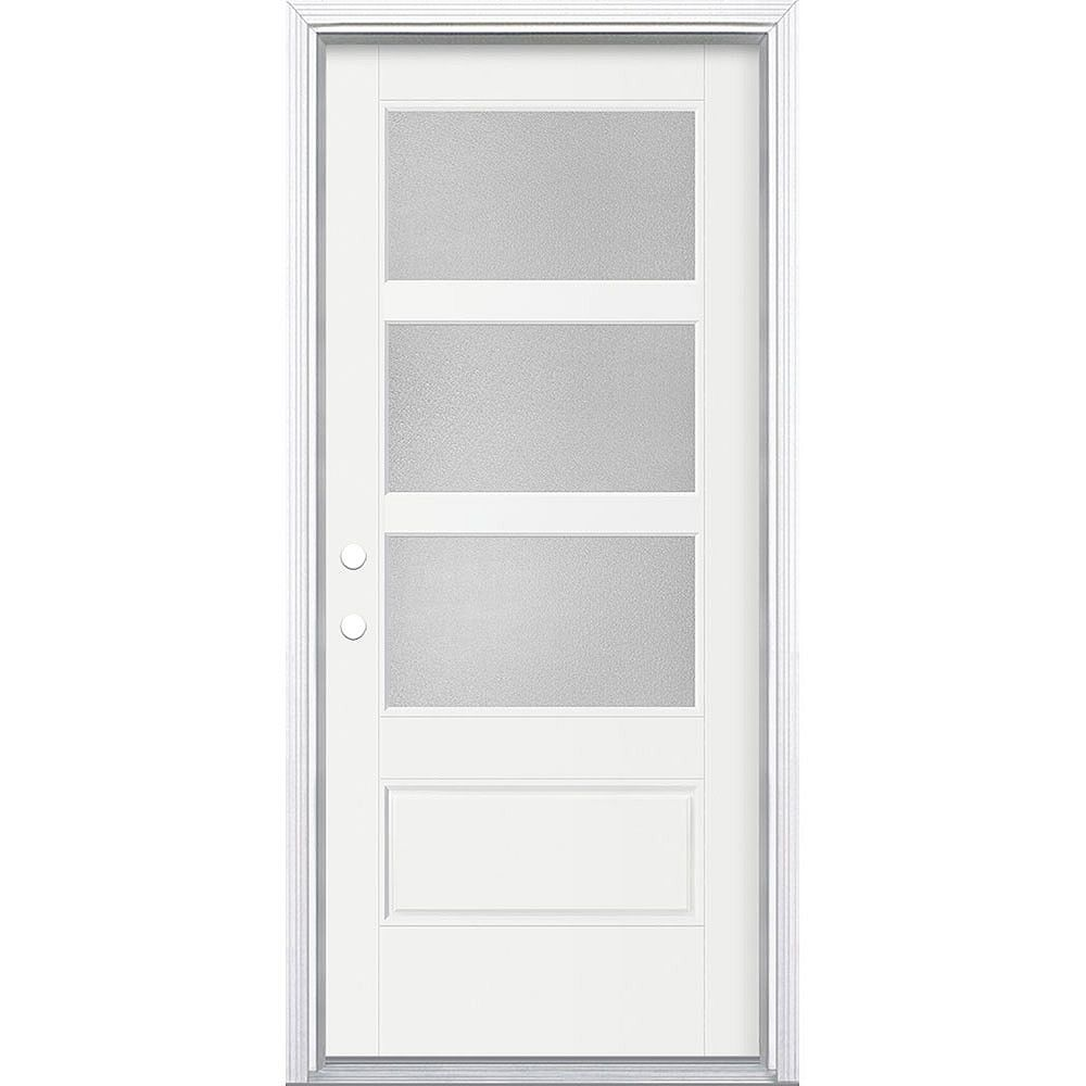 Masonite 34in x 80in Vista Grande Pear 3 Lite Wide Exterior Door Smooth Fiberglass White Right-Hand