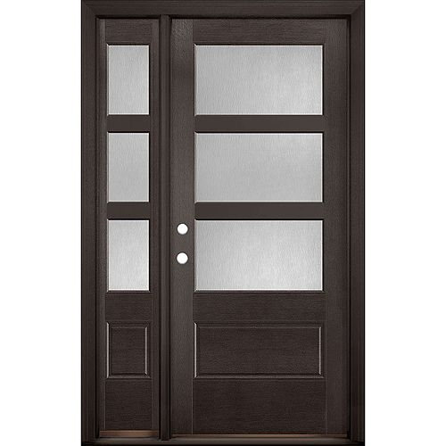 34in x 80in Vista Grande Pear 3 Lite Wide Exterior Door w/SL Textured Fiberglass Espresso Right-Hand