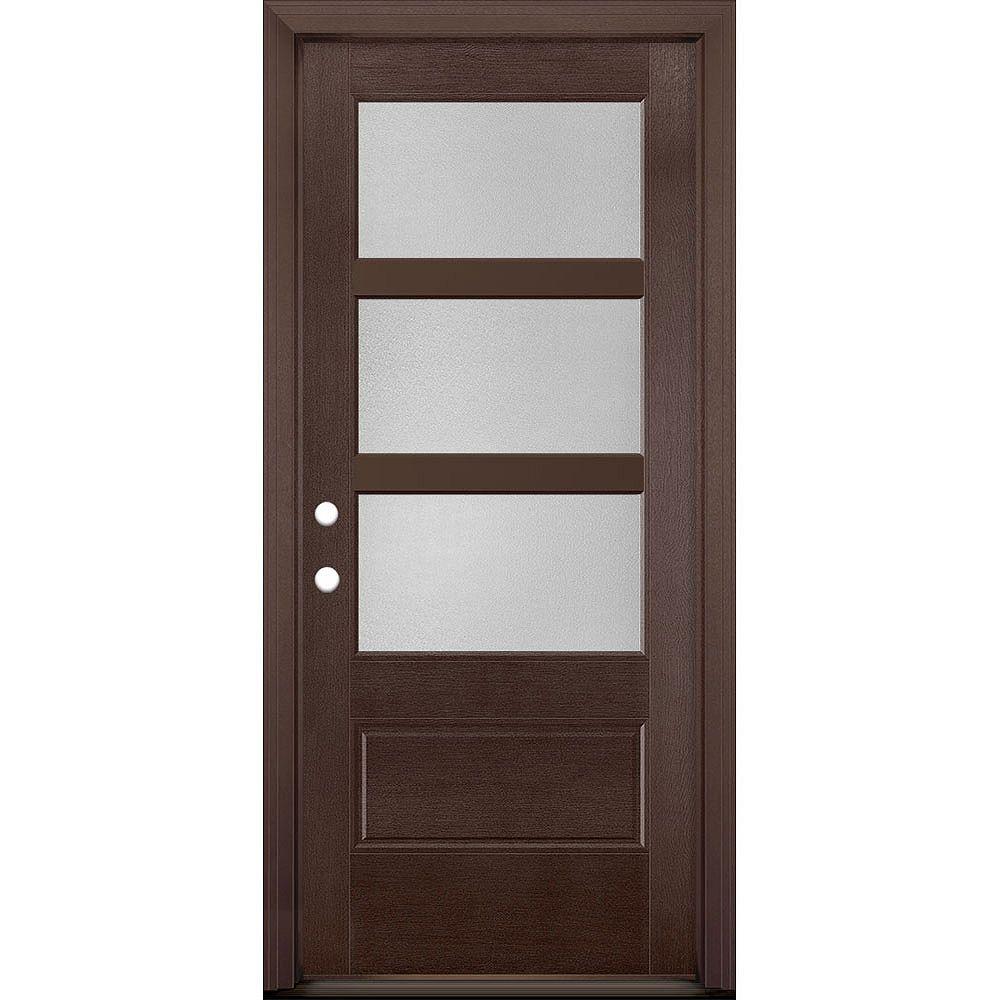 Masonite 34in x 80in Vista Grande Pear 3 Lite Wide Exterior Door Textured Fiberglass Merlot Right-Hand