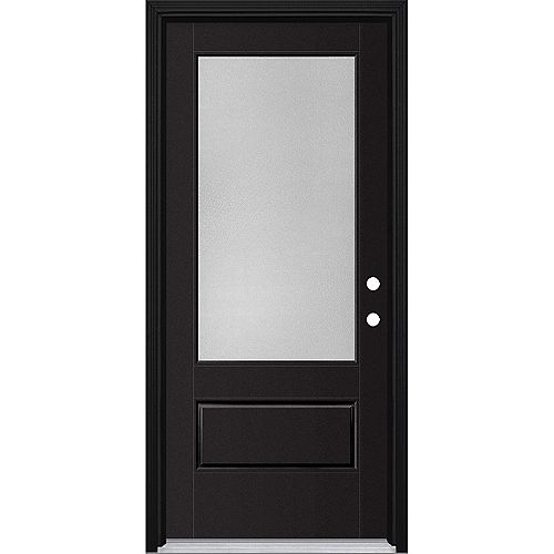 34in x 80in Vista Grande Pear 3/4 Lite Exterior Door w/ Cladding Smooth Fiberglass Black Left-Hand
