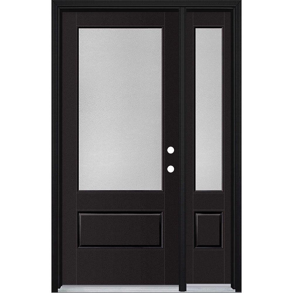 Masonite 34in x 80in Vista Grande Pear 3/4 Lite Exterior Door w/ SL & Clad Smooth Fiberglass Black Left-Hand