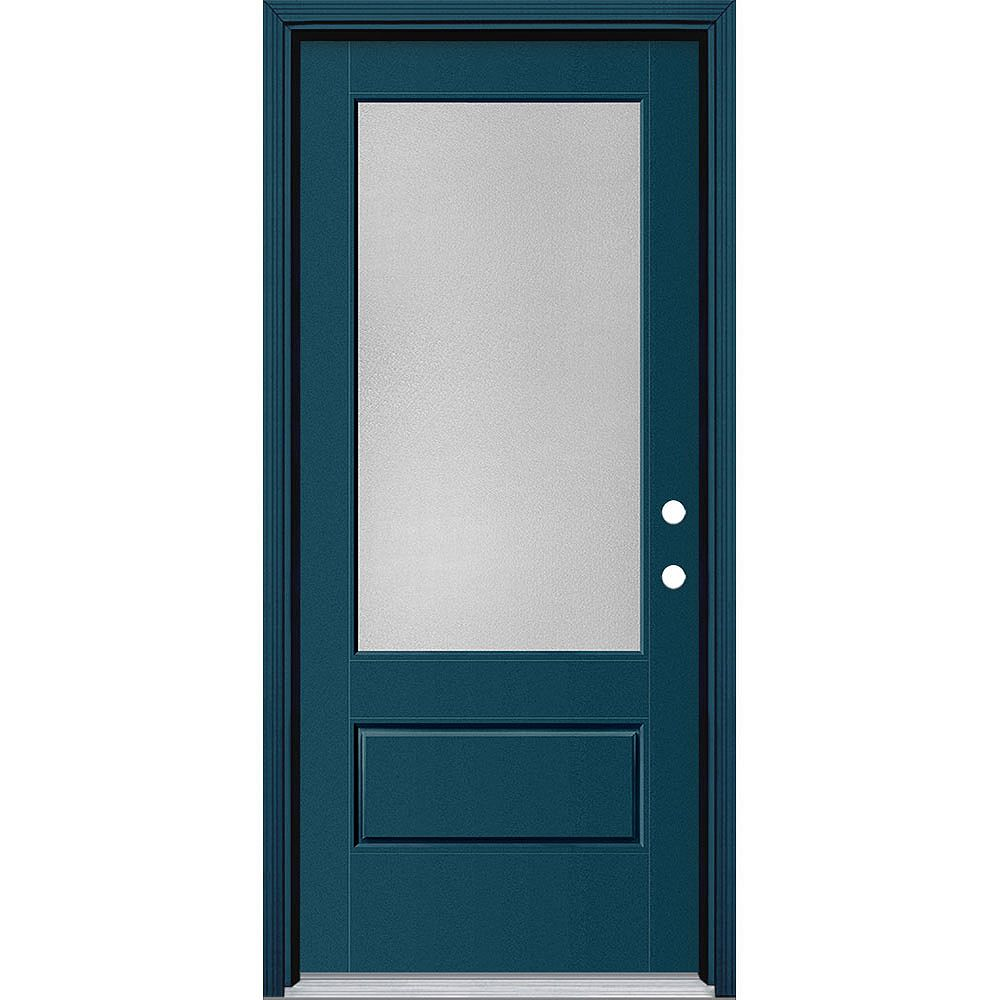 Masonite 34in x 80in Vista Grande Pear 3/4 Lite Exterior Door w/ Cladding Smooth Fiberglass Blue Left-Hand