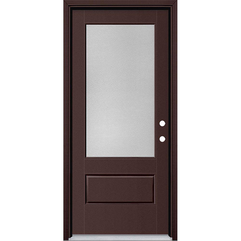 Masonite 34in x 80in Vista Grande Pear 3/4 Lite Exterior Door Smooth Fiberglass Brown Left-Hand