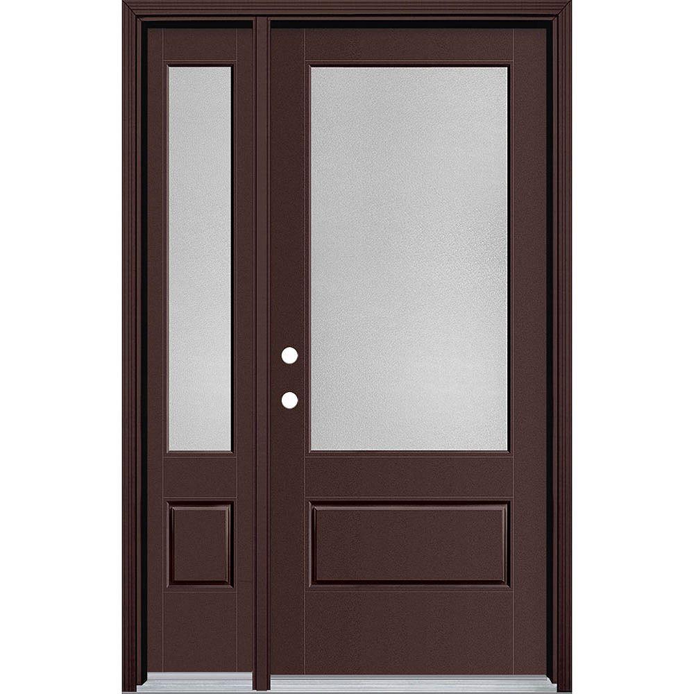 Masonite 34in x 80in Vista Grande Pear 3/4 Lite Exterior Door w/ Sidelite Smooth Fiberglass Brown Right-Hand