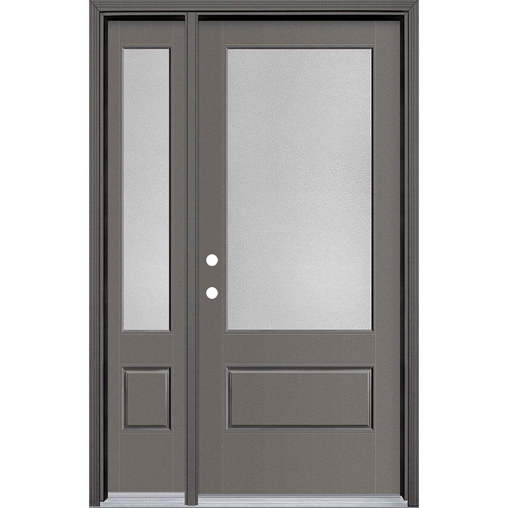 Masonite 34in x 80in Vista Grande Pear 3/4 Lite Exterior Door w/ SL & Clad Smooth Fiberglass Grey Right-Hand