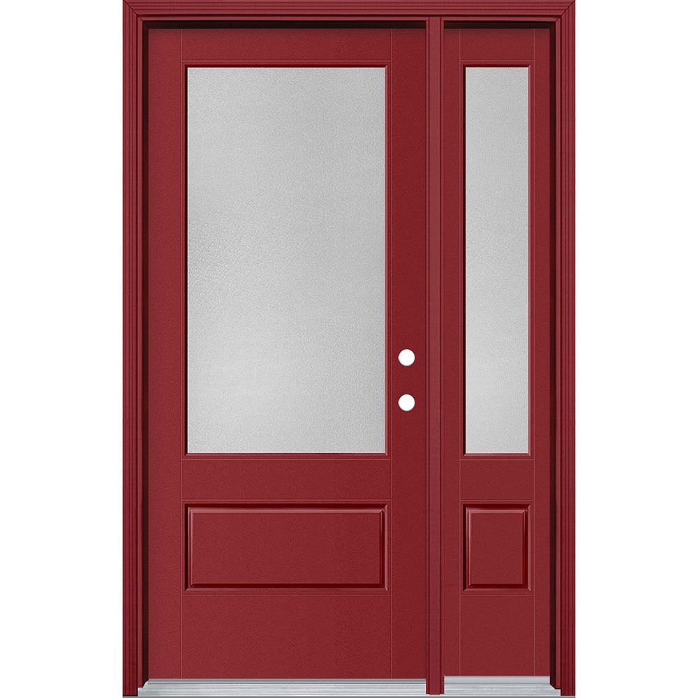 Masonite 34in x 80in Vista Grande Pear 3/4 Lite Exterior Door w/ Sidelite Smooth Fiberglass Red Left-Hand
