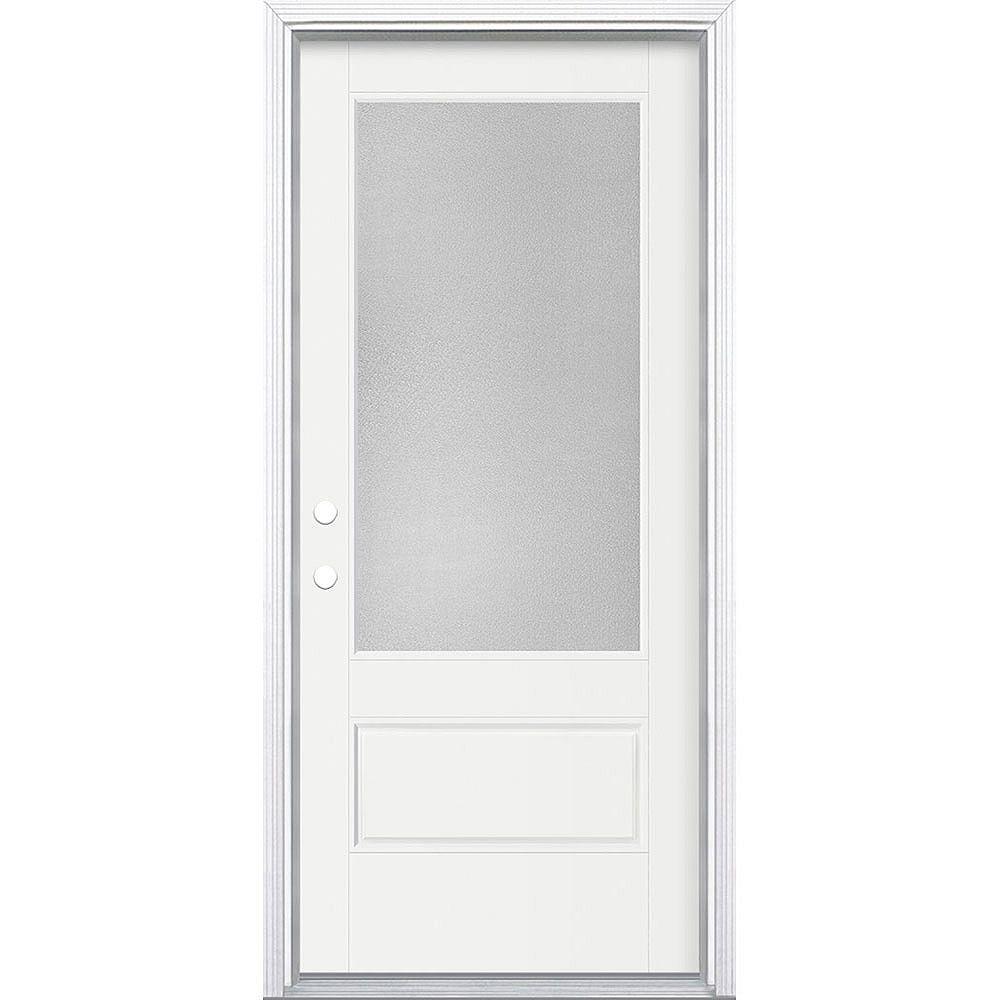Masonite Porte en fibre de verre lisse Vista Grande Blanc reco. 34 po x 80 po Verre 3/4 Pear Main Droite