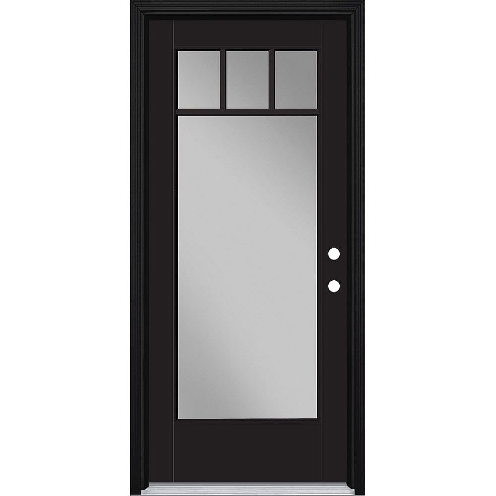 Masonite 34in x 80in Vista Grande 4 Lite Craftsman Exterior Door w/ Clad Smooth Fiberglass Black Left-Hand