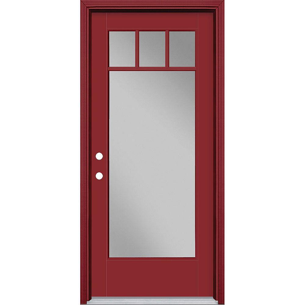 Masonite 34in x 80in Vista Grande 4 Lite Craftsman Exterior Door Smooth Fiberglass Red Right-Hand