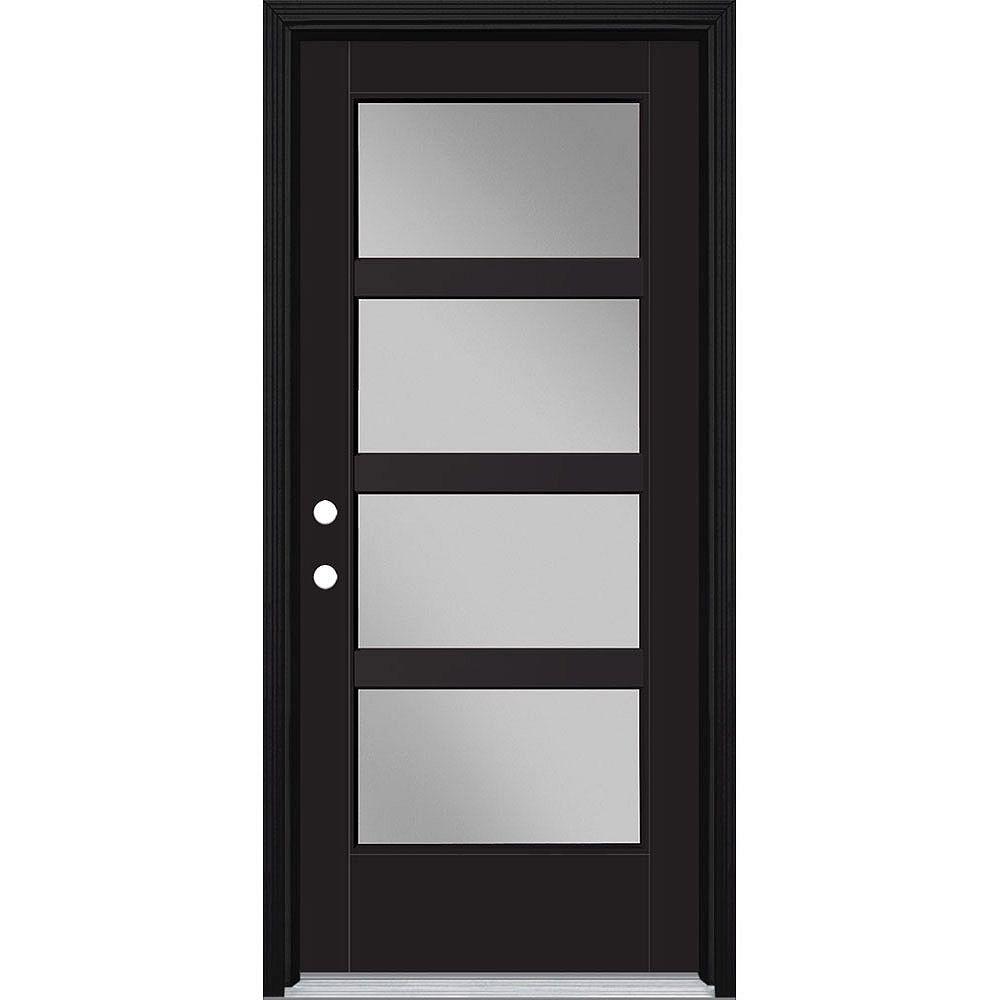 Masonite 34in x 80in Vista Grande 4 Lite Wide Exterior Door w/ Cladding Smooth Fiberglass Black Right-Hand