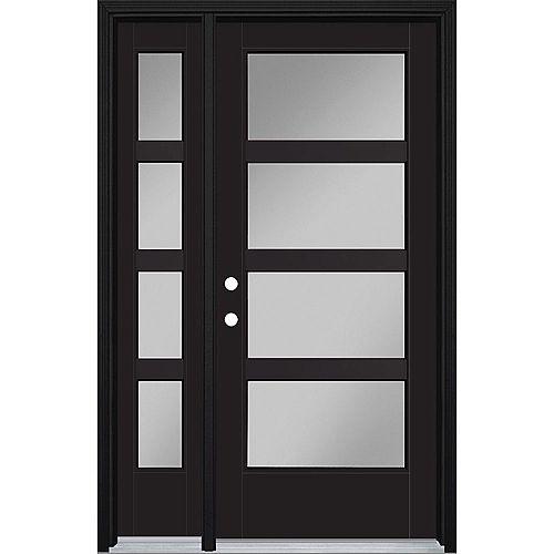 34in x 80in Vista Grande 4 Lite Wide Exterior Door w/ SL & Clad Smooth Fiberglass Black Right-Hand