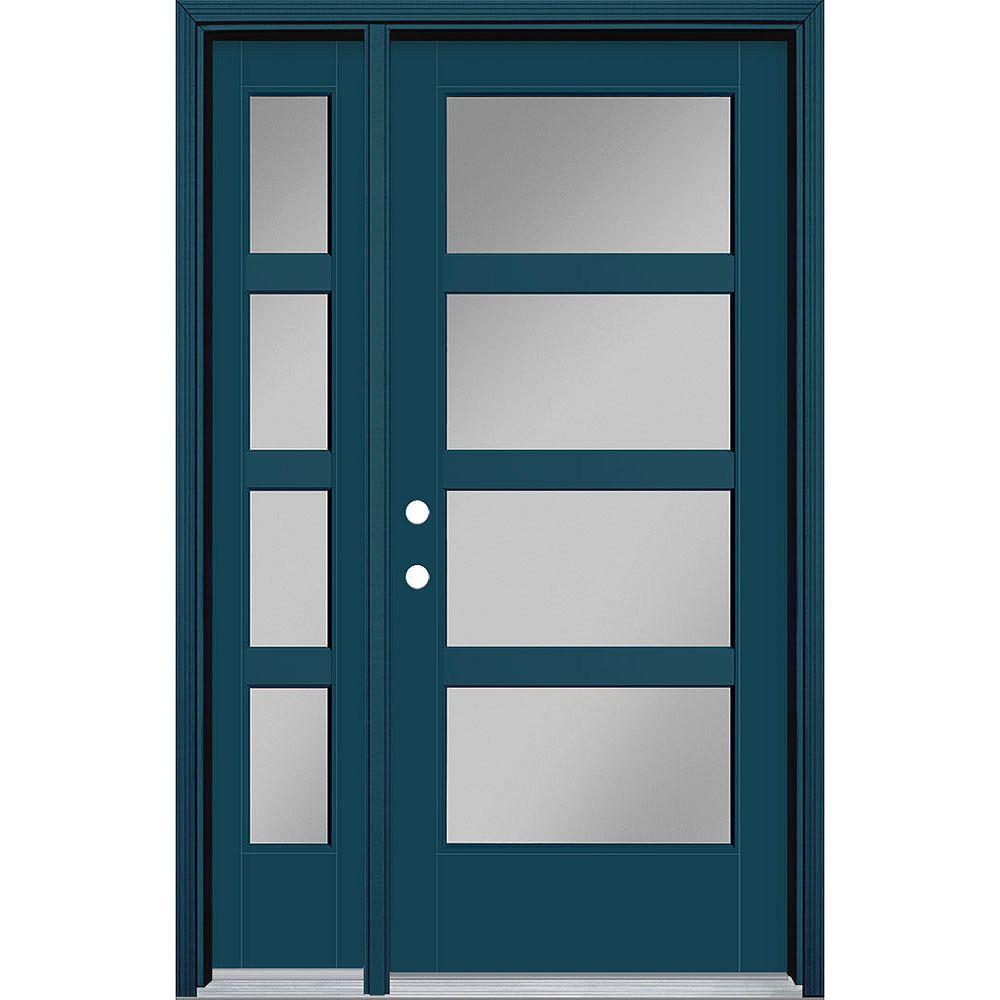 Masonite 34in x 80in Vista Grande 4 Lite Wide Exterior Door w/ Sidelite Smooth Fiberglass Blue Right-Hand