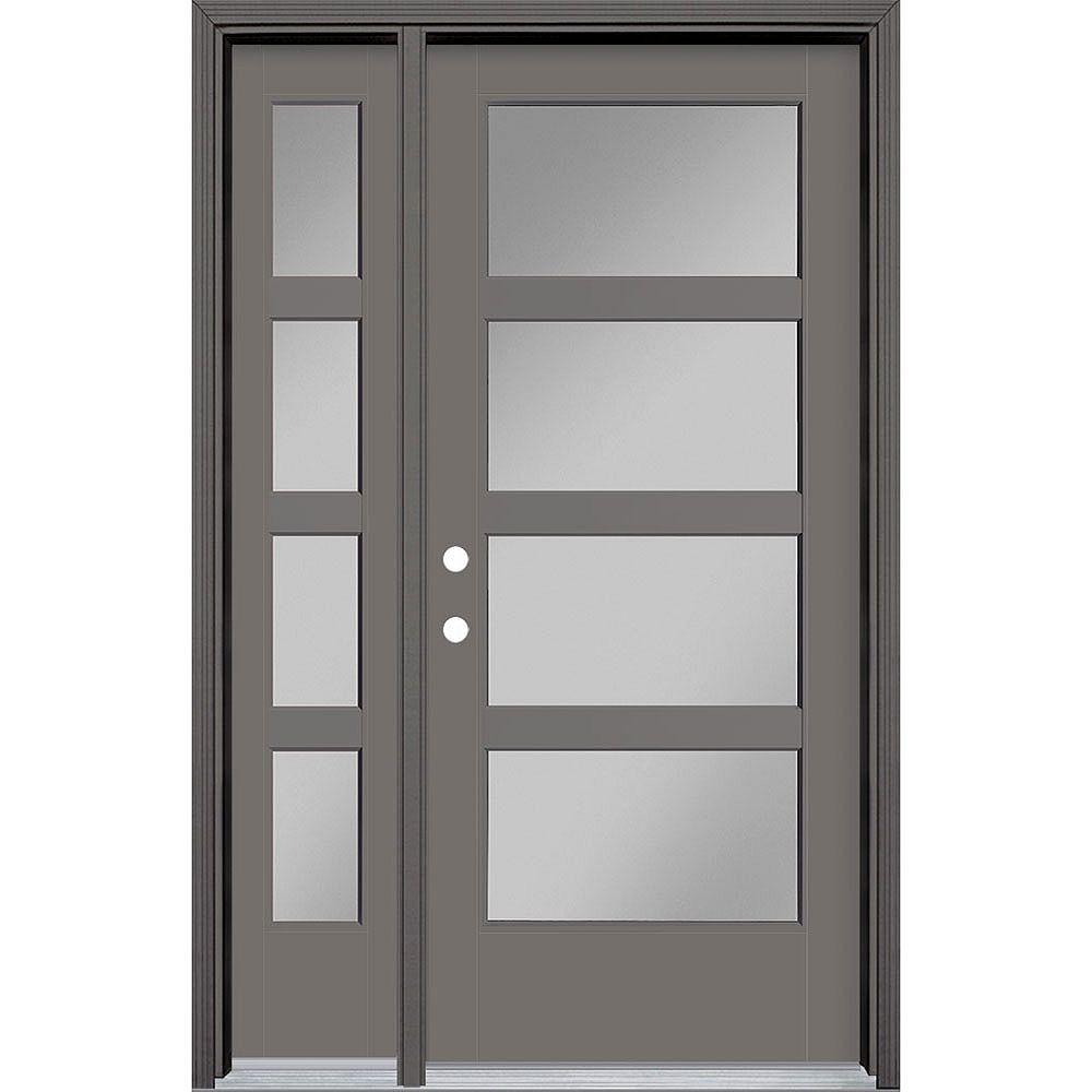 Masonite 34in x 80in Vista Grande 4 Lite Wide Exterior Door w/ Sidelite Smooth Fiberglass Grey Right-Hand