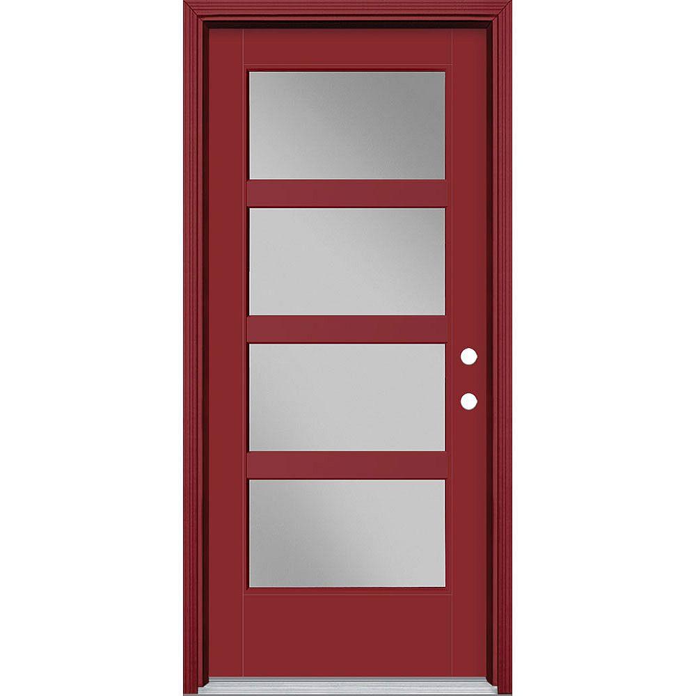 Masonite Porte en fibre de verre lisse Vista Grande Rouge reco. 34 po x 80 po 4 CARR. LARGE Main Gauche