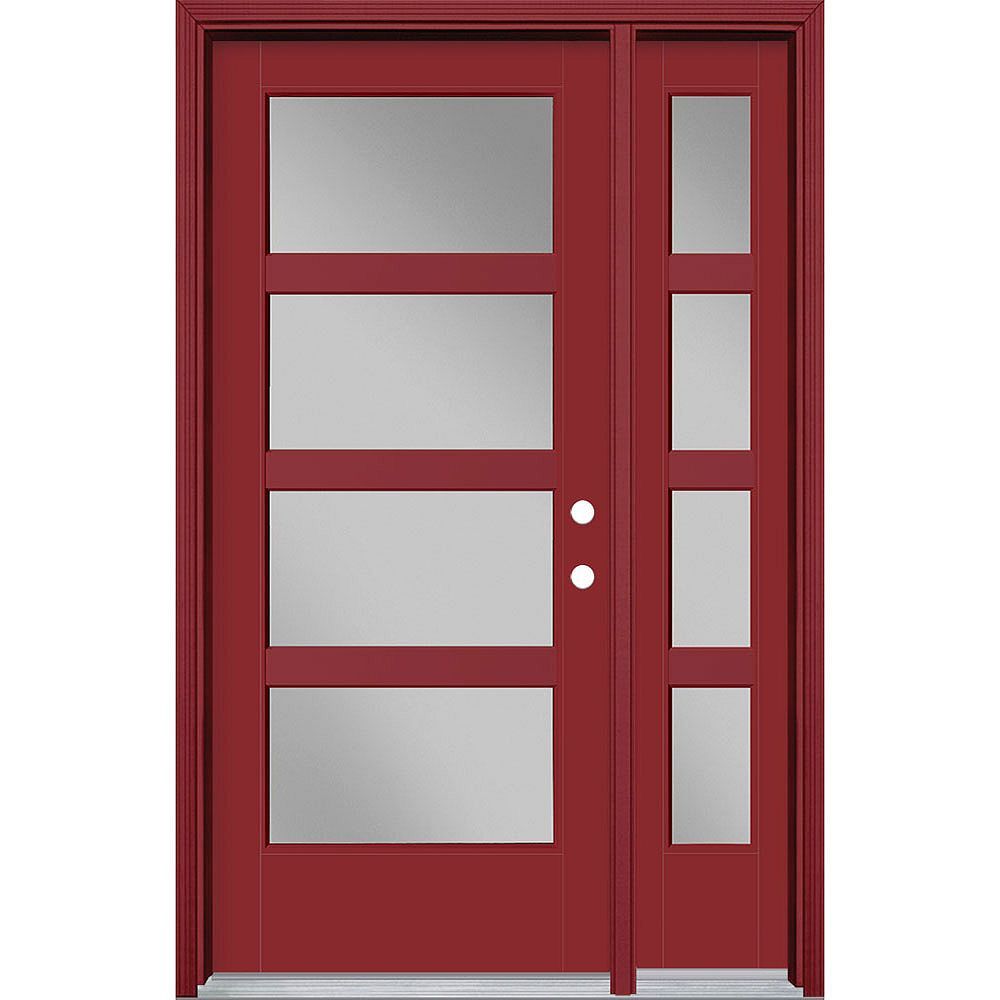 Masonite 34in x 80in Vista Grande 4 Lite Wide Exterior Door w/ SL & Clad Smooth Fiberglass Red Left-Hand