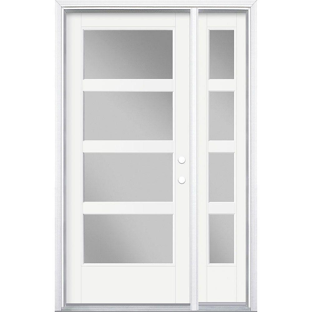 Masonite 34in x 80in Vista Grande 4 Lite Wide Exterior Door w/ SL & Clad Smooth Fiberglass White Left-Hand