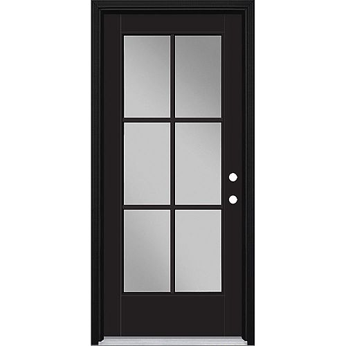 Masonite 34in x 80in Vista Grande 6 Lite Exterior Door w/ Cladding Smooth Fiberglass Black Left-Hand