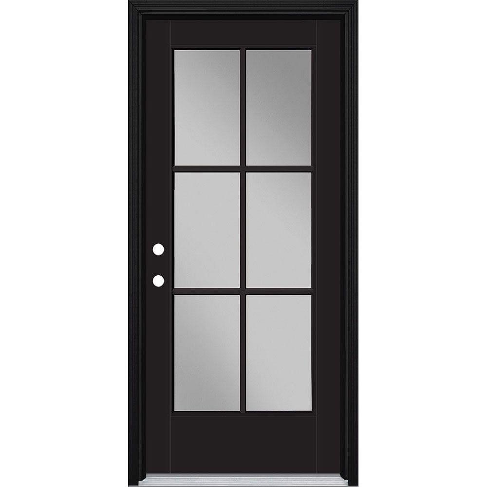 Masonite 34in x 80in Vista Grande 6 Lite Exterior Door w/ Cladding Smooth Fiberglass Black Right-Hand