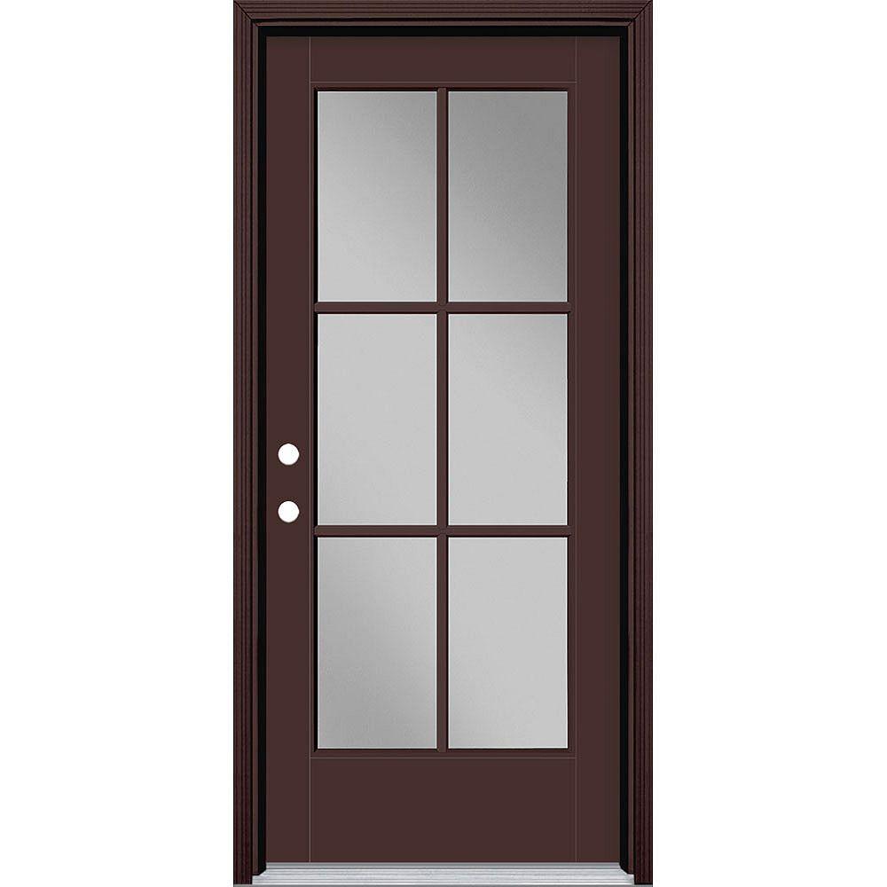Masonite 34in x 80in Vista Grande 6 Lite Exterior Door Smooth Fiberglass Brown Right-Hand