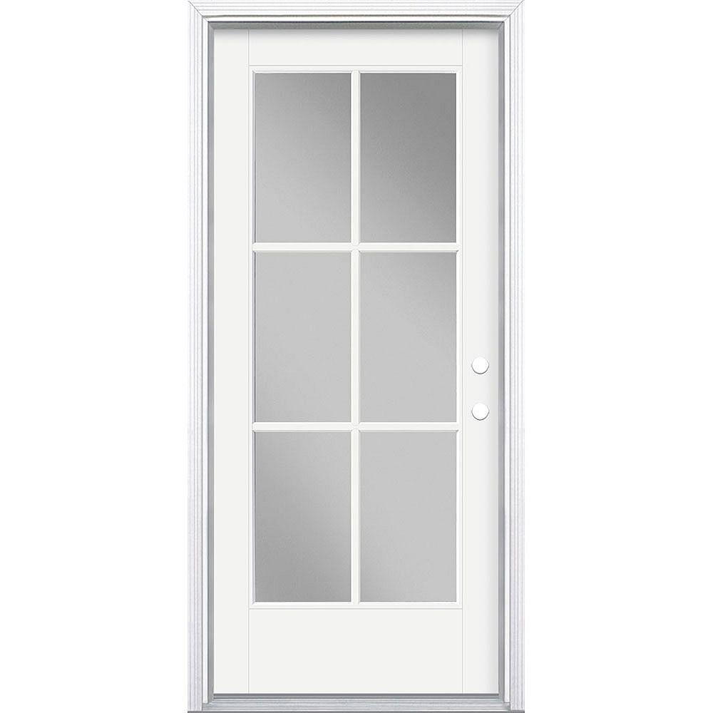 Masonite 34in x 80in Vista Grande 6 Lite Exterior Door Smooth Fiberglass White Left-Hand
