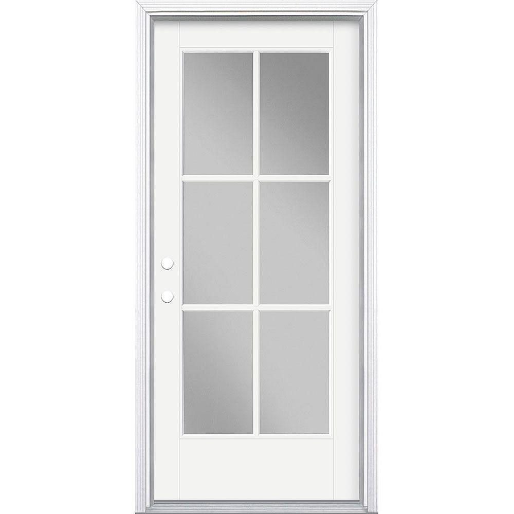 Masonite 34in x 80in Vista Grande 6 Lite Exterior Door w/ Cladding Smooth Fiberglass White Right-Hand