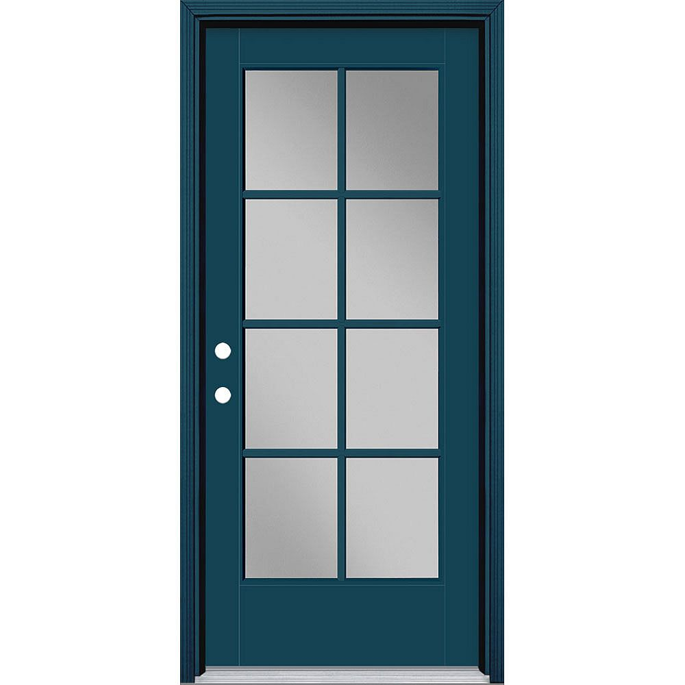 Masonite 34in x 80in Vista Grande 8 Lite Exterior Door w/ Cladding Smooth Fiberglass Blue Right-Hand