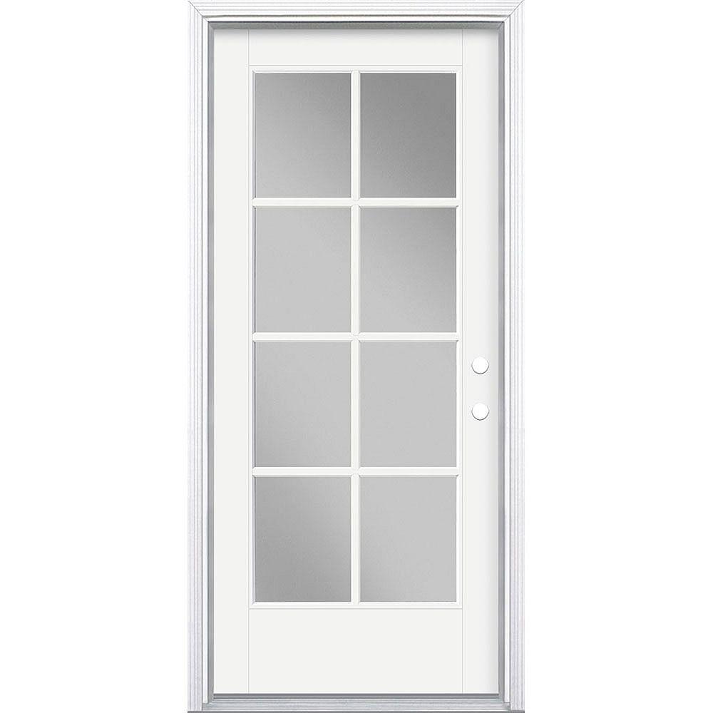 Masonite 34in x 80in Vista Grande 8 Lite Exterior Door Smooth Fiberglass White Left-Hand