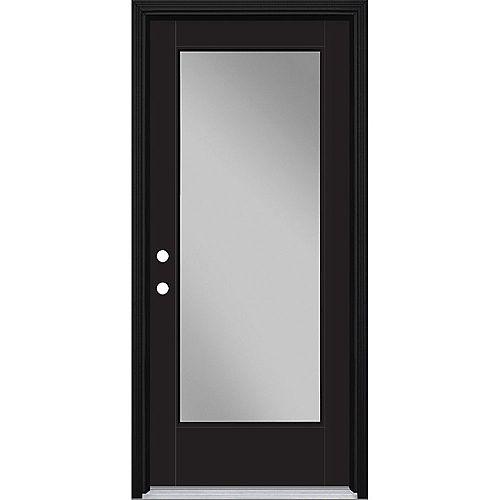 34in x 80in Vista Grande Full Lite Exterior Door w/ Cladding Smooth Fiberglass Black Right-Hand
