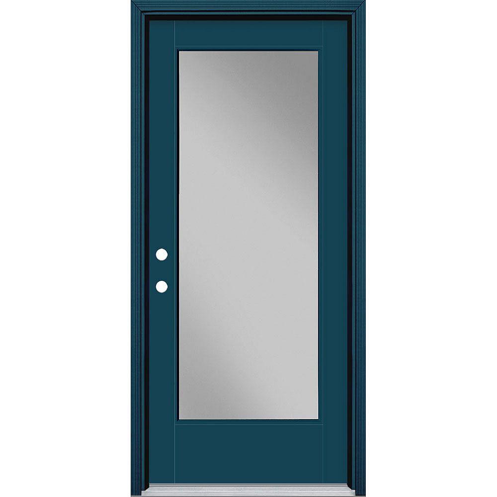 Masonite 34in x 80in Vista Grande Full Lite Exterior Door w/ Cladding Smooth Fiberglass Blue Right-Hand