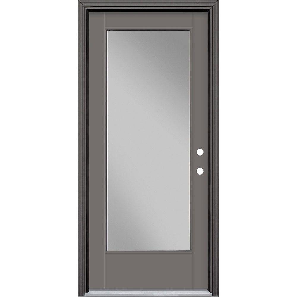 Masonite 34in x 80in Vista Grande Full Lite Exterior Door Smooth Fiberglass Grey Left-Hand