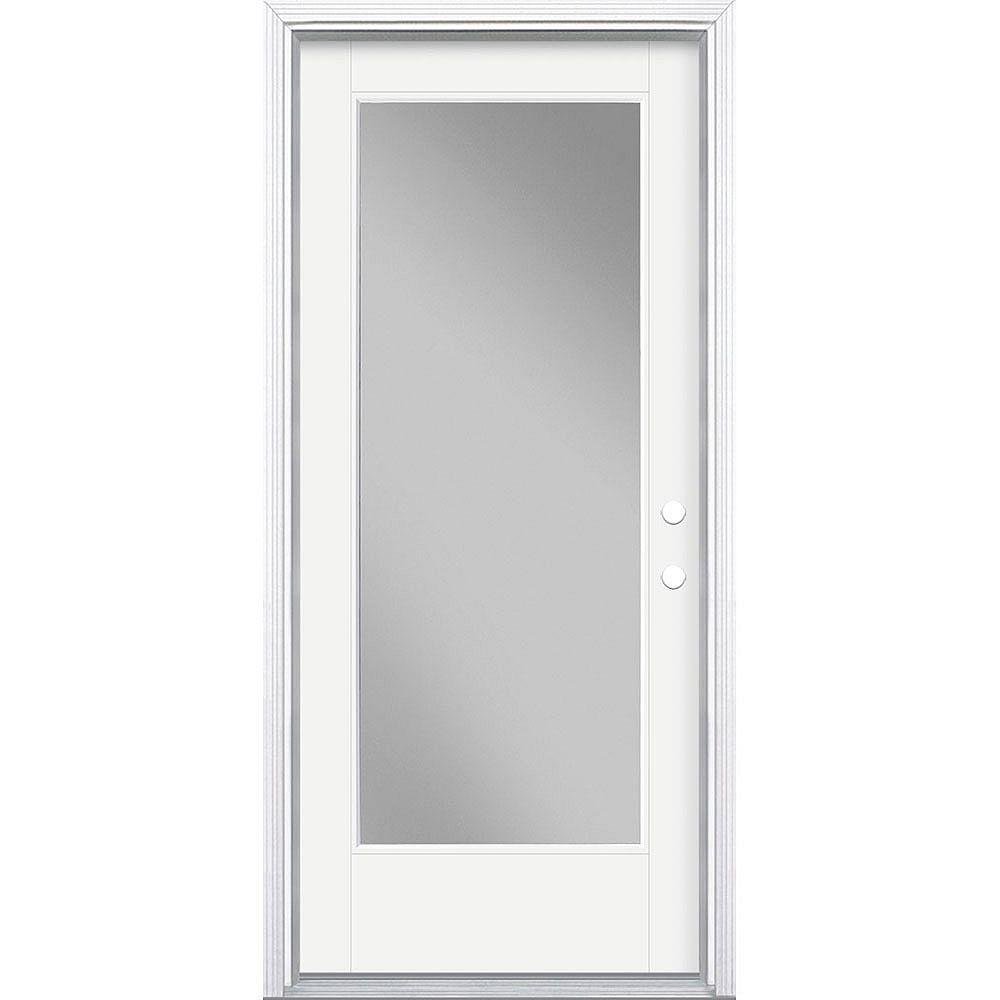 Masonite Porte en fibre de verre lisse Vista Grande Blanc 34 po x 80 po Verre Pleine Main Gauche
