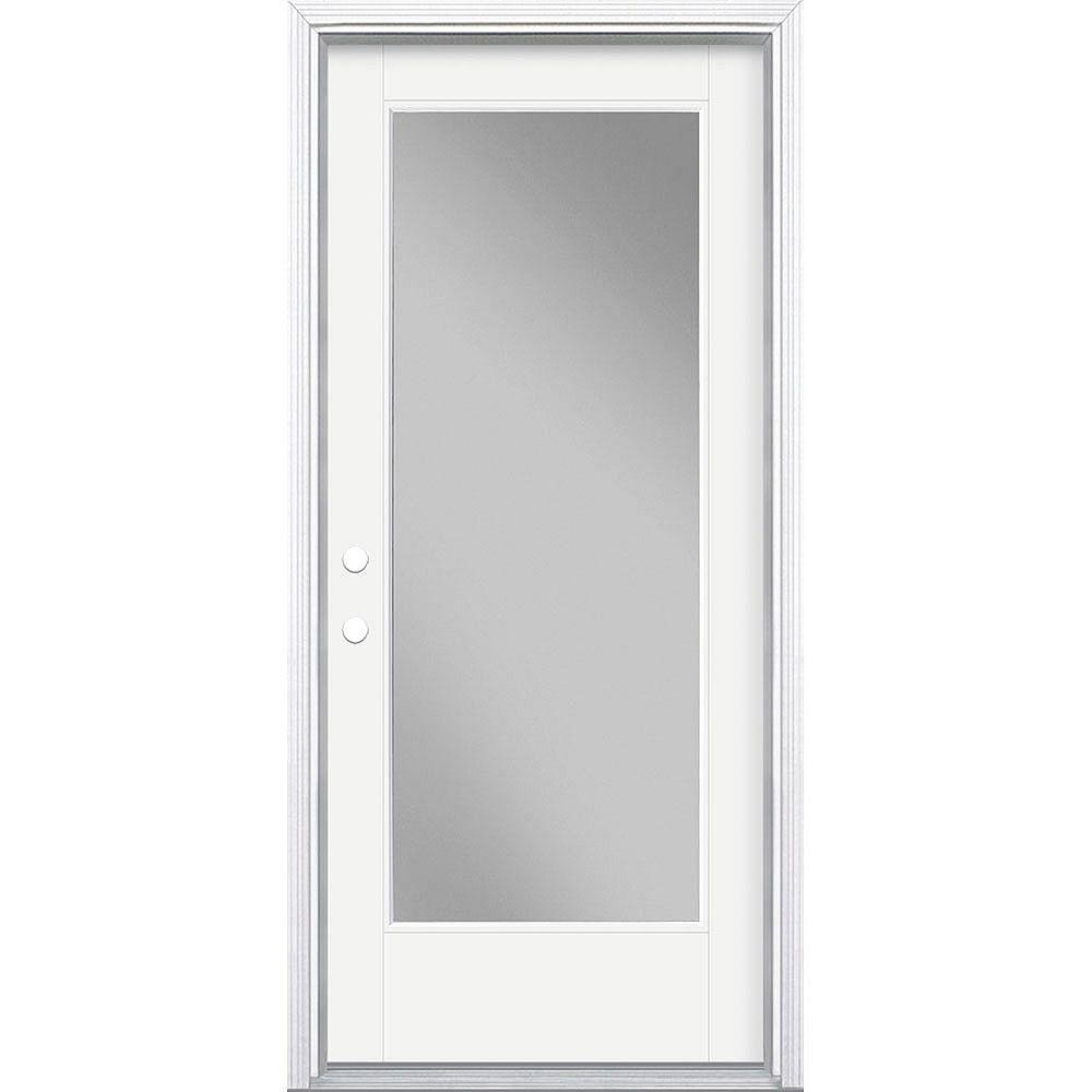 Masonite 34in x 80in Vista Grande Full Lite Exterior Door w/ Cladding Smooth Fiberglass White Right-Hand