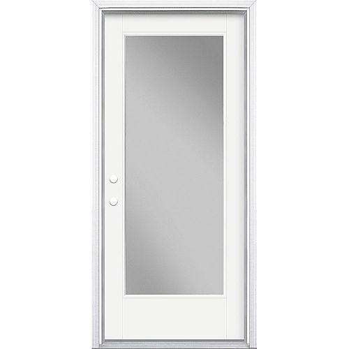 Masonite 34in x 80in Vista Grande Full Lite Exterior Door w/ Cladding Smooth Fiberglass White Right-Hand