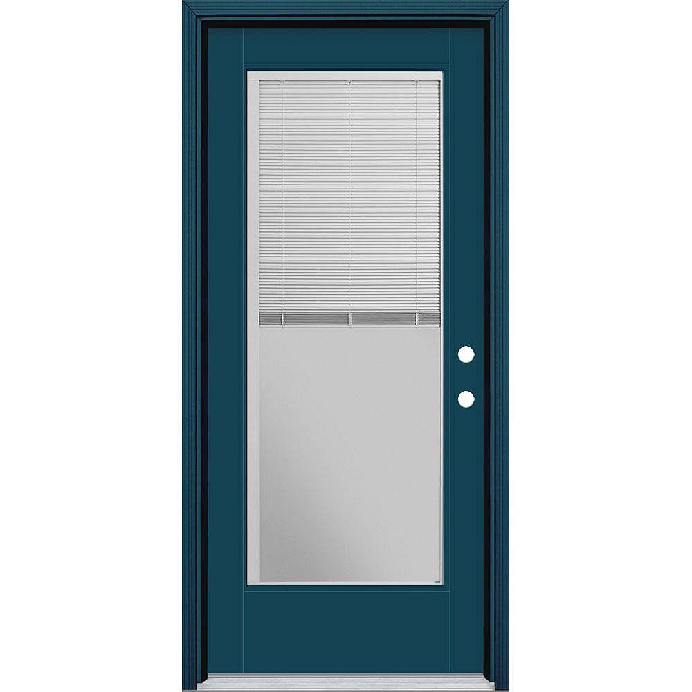 Masonite Porte en fibre de verre lisse Vista Grande Bleu reco. 34 po x 80 po STORES INTÉGRÉS Main Gauche