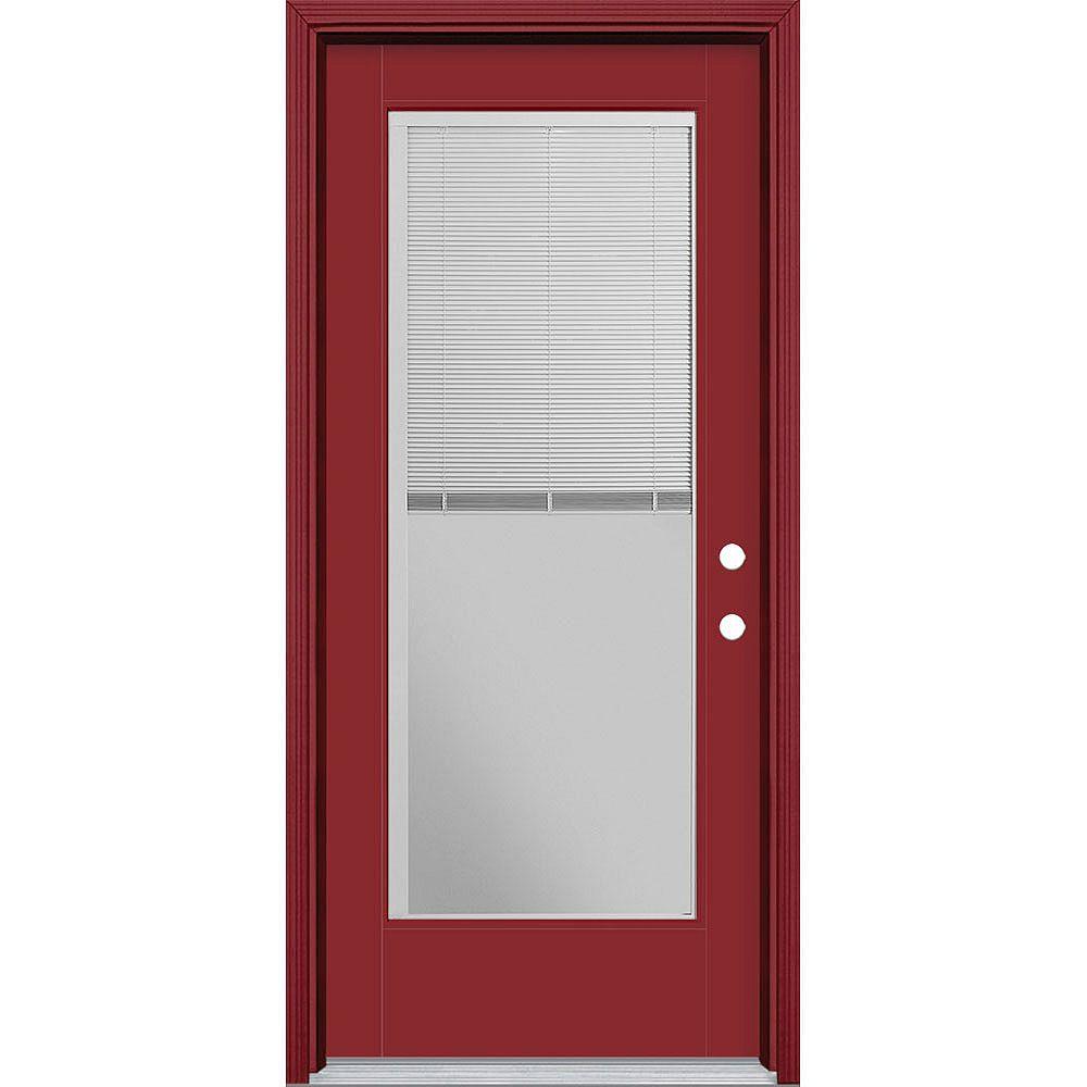 Masonite Porte en fibre de verre lisse Vista Grande Rouge 34 po x 80 po STORES INTÉGRÉS Main Gauche