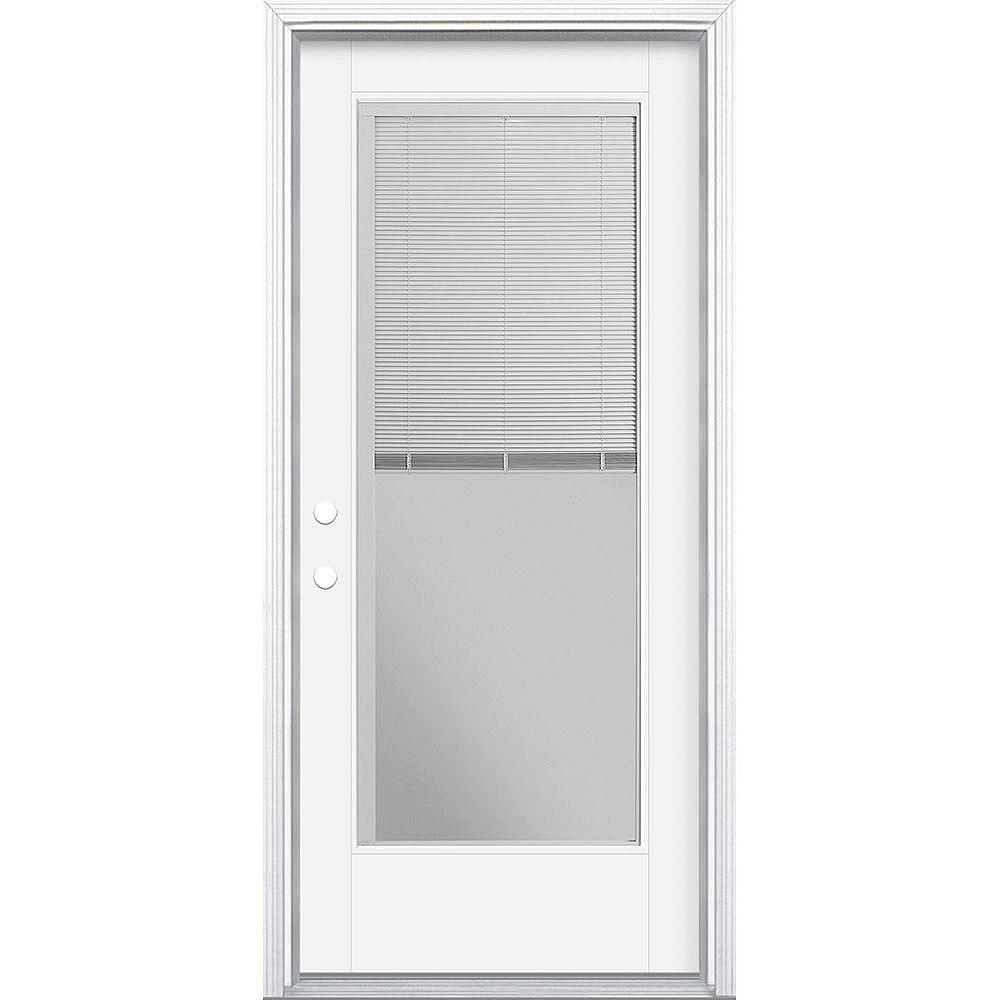 Masonite 34in x 80in Vista Grande Miniblind Exterior Door Smooth Fiberglass White Right-Hand
