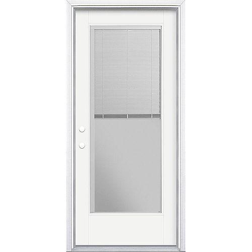 34in x 80in Vista Grande Miniblind Exterior Door w/ Cladding Smooth Fiberglass White Right-Hand