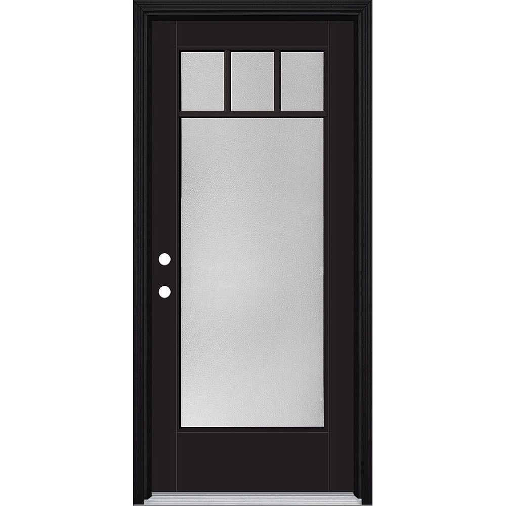 Masonite 34in x 80in Vista Grande Pear 4 Lite Craftsman Exterior Door w/Clad Smth Fiberglass Black Right-Hand