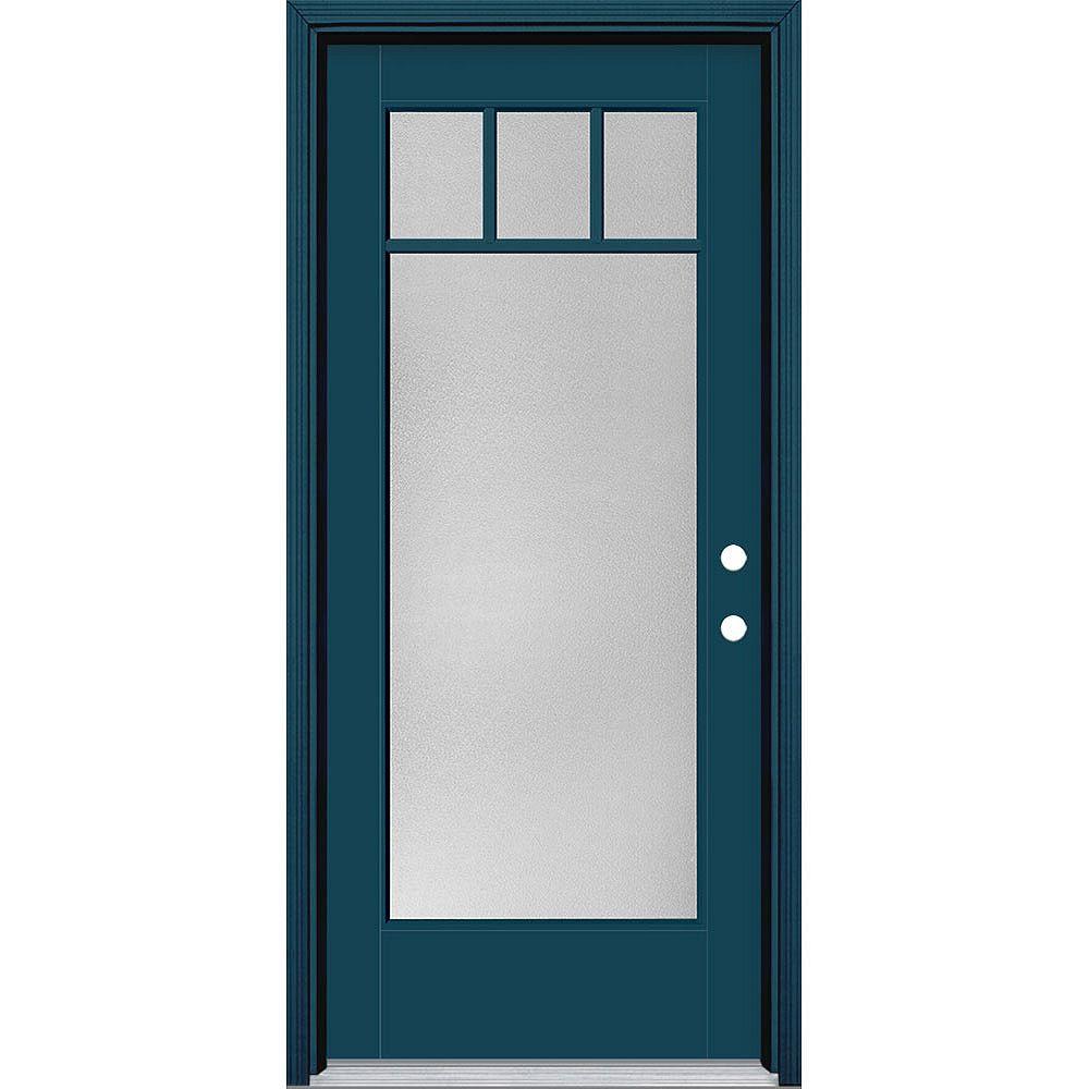 Masonite 34in x 80in Vista Grande Pear 4 Lite Craftsman Exterior Door Smooth Fiberglass Blue Left-Hand