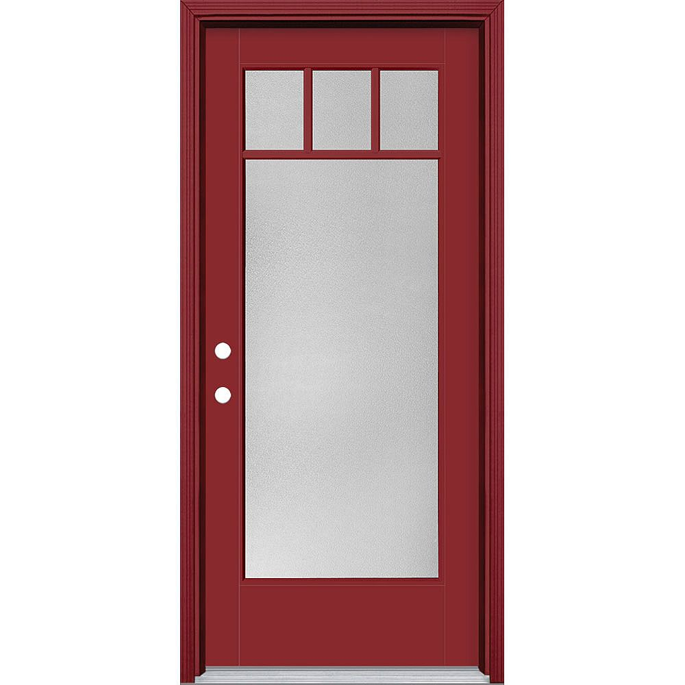 Masonite 34in x 80in Vista Grande Pear 4 Lite Craftsman Exterior Door w/Clad Smooth Fiberglass Red Right-Hand