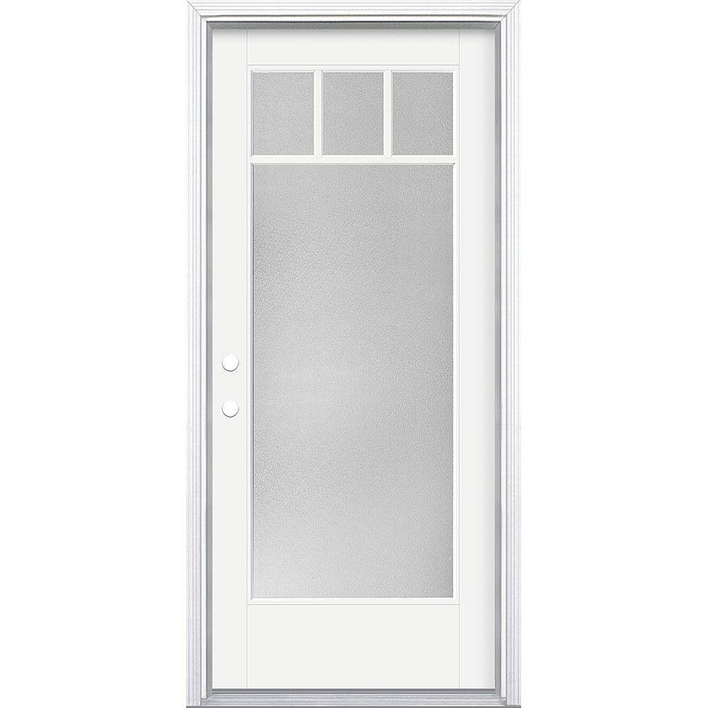 Masonite Porte en fibre de verre lisse Vista Grande Blanc reco. 34 po x 80 po 4 CARR. CRAFTS Pear Main Droite