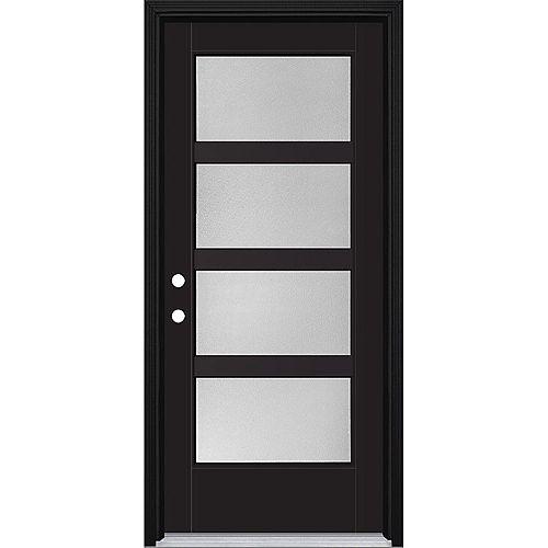 34in x 80in Vista Grande Pear 4 Lite Wide Exterior Door w/ Clad Smooth Fiberglass Black Right-Hand