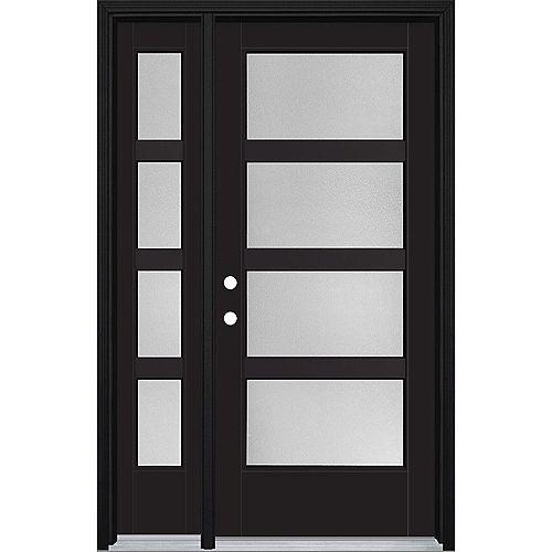 Porte d'entrée prémontée 4 carreaux avec latérale VistaGrande, 46 po x 80 po, fibre de verre lisse, peinte
