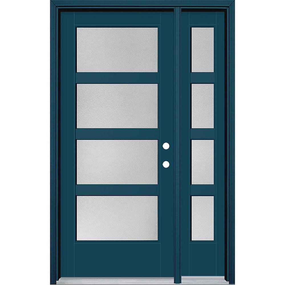 Masonite 34in x 80in Vista Grande Pear 4 Lite Wide Exterior Door w/ Sidelite Smooth Fiberglass Blue Left-Hand