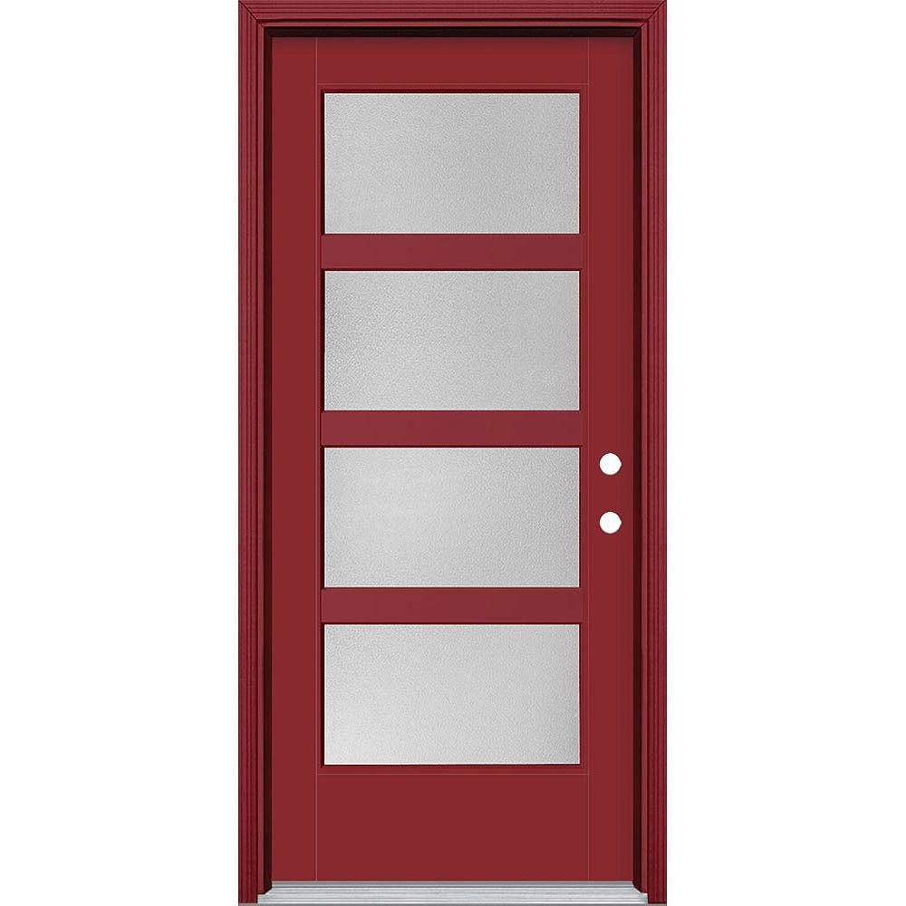 Masonite Porte en fibre de verre lisse Vista Grande Rouge 34 po x 80 po 4 CARREAUX large Pear Main Gauche