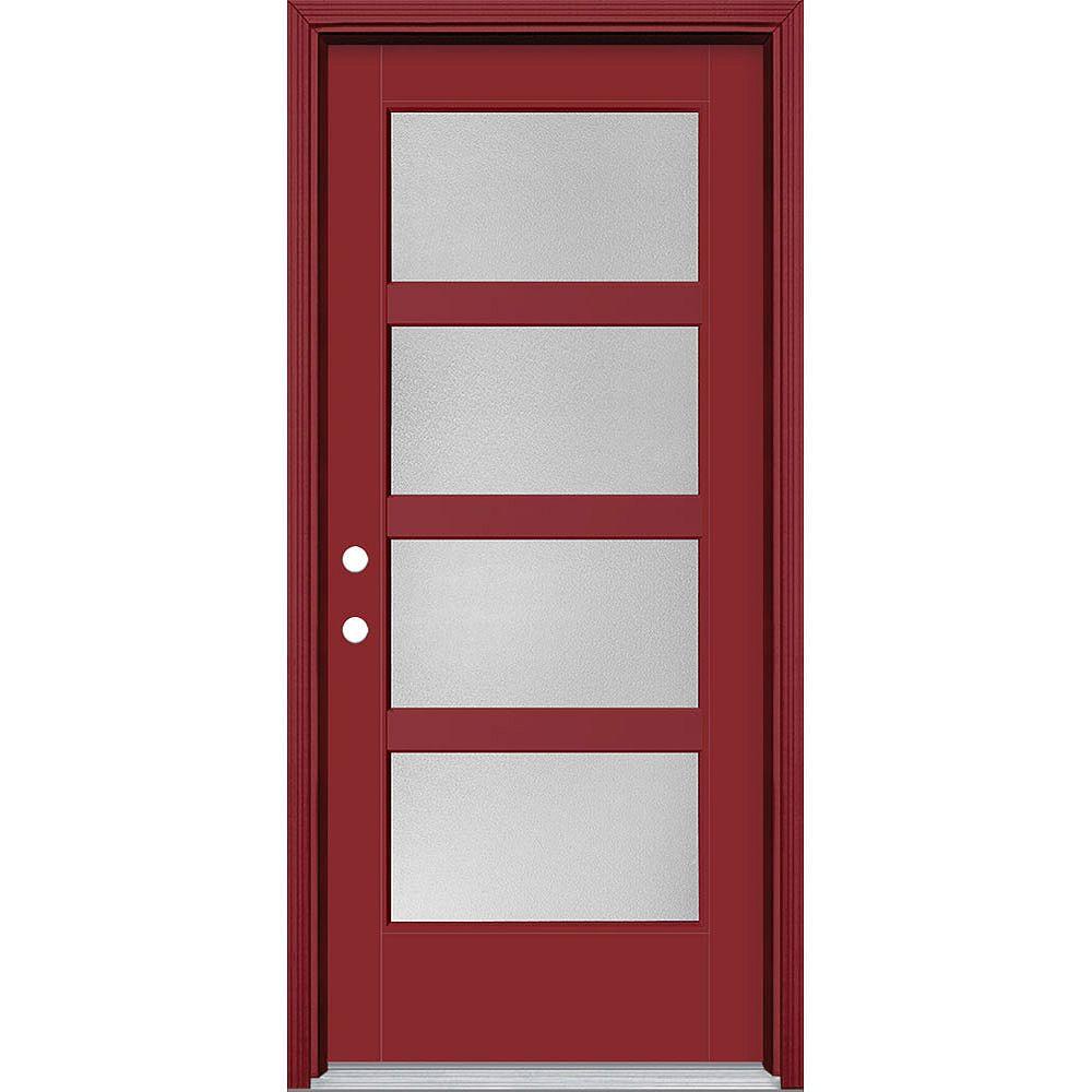 Masonite Porte en fibre de verre lisse Vista Grande Rouge 34 po x 80 po 4 CARREAUX large Pear Main Droite