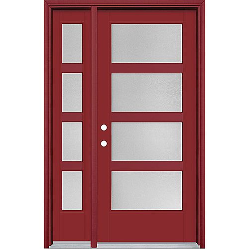 34in x 80in Vista Grande Pear 4 Lite Wide Exterior Door w/SL & Clad Smooth Fiberglass Red Right-Hand