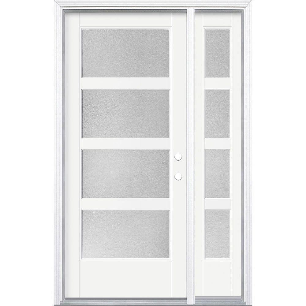 Masonite 34in x 80in Vista Grande Pear 4 Lite Wide Exterior Door w/SL &Clad Smooth Fiberglass White Left-Hand
