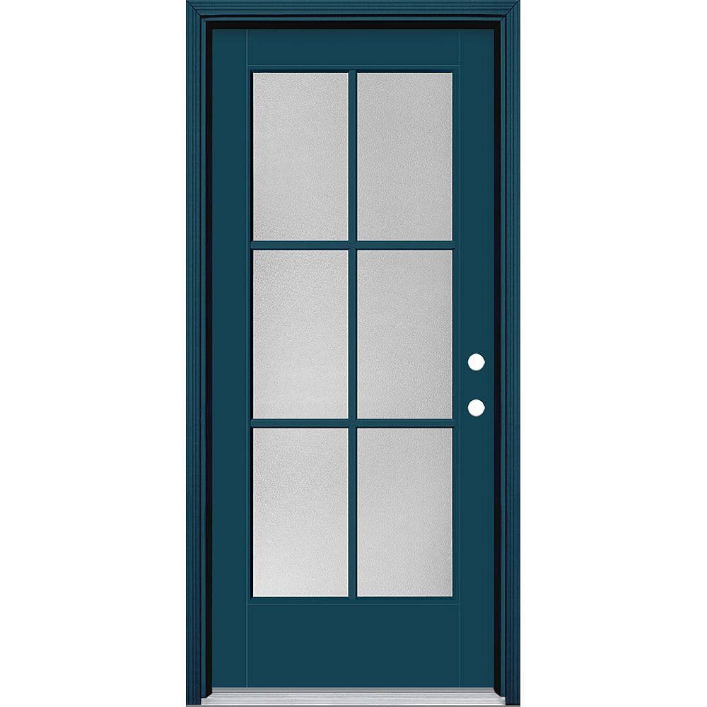 Masonite Porte en fibre de verre lisse Vista Grande Bleu reco. 34 po x 80 po 6 CARREAUX Pear Main Gauche